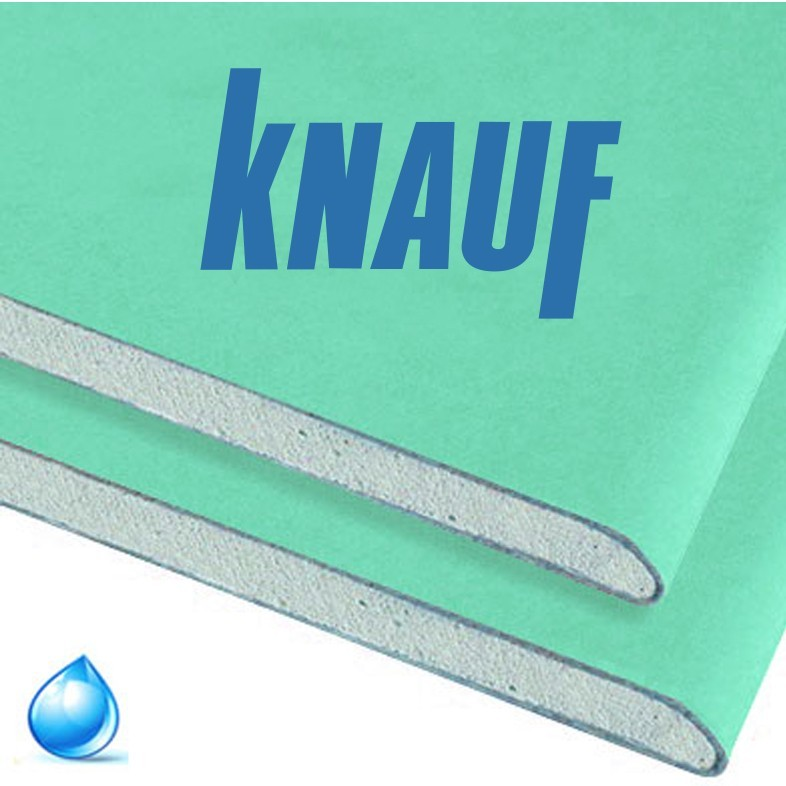 Гипсокартонный лист Knauf 9,5х1200х2500мм (влагостойкий) расход на 3м2
