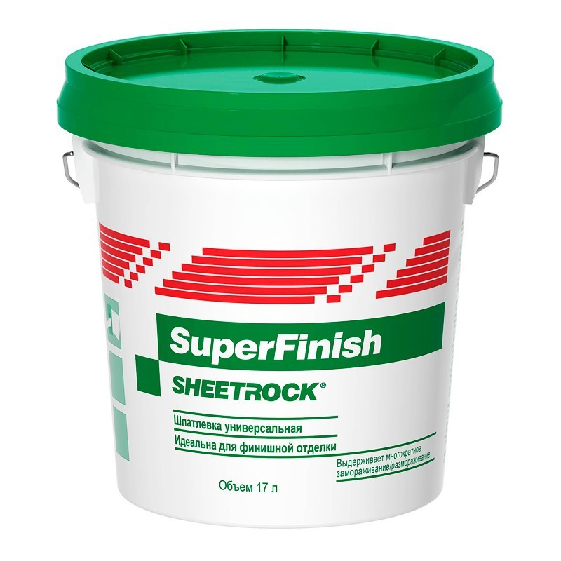 Шпатлевка Sheetrock SuperFinish 28кг расход на 40 м2