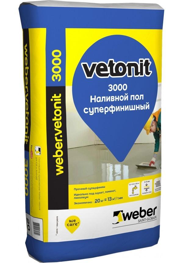 Weber Vetonit 3000 20 кг расход на 13м2